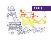 Hand drawn Paris city view sketch. Royalty Free Stock Images
