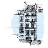 Hand drawn Paris house, townhouse urban sketch Royalty Free Stock Photos
