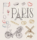 Hand drawn paris symbols Stock Photos