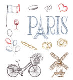 Hand drawn paris symbols Royalty Free Stock Image
