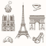 Hand drawn Paris symbols vector Stock Photo