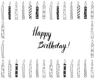 Hand drawn party background with candles, hand written lettering text happy birthday,  on white.  Stock Images