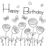 Hand drawn party background with flowers, butterflies and hearts, hand writen lettering text happy birthday, isolated on white Royalty Free Stock Photos