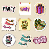 Hand drawn party and celebration emblems set Royalty Free Stock Images