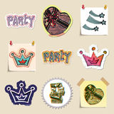 Hand drawn party and celebration emblems set Royalty Free Stock Photos