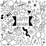 06-19-006 hand drawn party doodle happy birthday Ornaments background pattern Vector illustration. Hand drawn party doodle happy birthday Ornaments background royalty free illustration