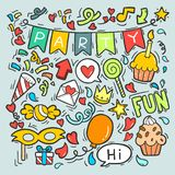 06-19-009 hand drawn party doodle happy birthday Ornaments background pattern Vector illustration. Hand drawn, doodle party set,Objects and symbols on the Party vector illustration