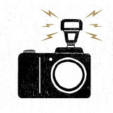 Hand drawn party icon with textured photo camera vector illustration Royalty Free Stock Image