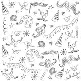Hand Drawn Party Symbols. Children Drawings of Masquerade Elements. Sketch Style. Stock Photography