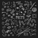 Hand- drawn pasta set. Vector illustration Royalty Free Stock Images