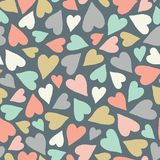Hand drawn pastel tossed heart pattern. A pretty vector seamless repeat pattern ideal for valentines fabric, scrap vector illustration