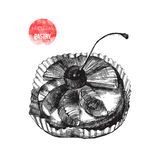 Hand drawn pastry with cherry. Hand drawn black and white pastry with cherry Stock Image