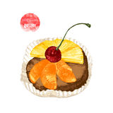Hand drawn pastry with cherry Royalty Free Stock Photos