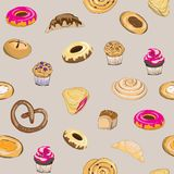 Vector illustration of pastry on grey background. Pretzel, muffin, cake, pie, croissant and bun. Seamless pattern. Hand drawn pastry on grey background. Seamless vector illustration