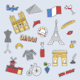 Hand drawn patch badges with France symbols - Eiffel tower Moulin Rouge Triumphal arch, champagne bike flag croissant. Beret perfume. Stickers, pins and patches Stock Photography