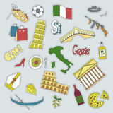 Hand drawn patch badges with Italy symbols - Pisa tower Coliseum mafia carnival theater football wine olive oil pizza Royalty Free Stock Photo