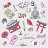 Hand drawn patch badges with Japan symbols - Kimono sakura flag buddha rice sushi stone garden rice origami geisha Stock Images