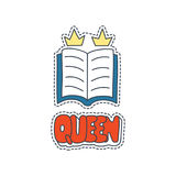 Hand drawn patch badges with United Kingdom symbol - education. Sticker, pin and patch in cartoon 80s-90s comic style Stock Image