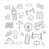Hand drawn patch badges with United Kingdom symbols - bus crown cloud hat flag umbrella cup of tea, red telephone box Royalty Free Stock Image