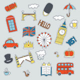 Hand drawn patch badges with United Kongdom symbols - bus crown cloud hat flag umbrella cup of tea, red telephone box. Tower bridge Big Ben. Stickers, pins and Stock Photography