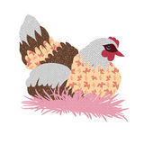 Hand drawn patchwork hen Stock Images