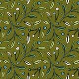 Hand-drawn patroon met bessen en bladeren op olijfachtergrond stock illustratie