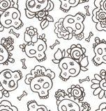 Hand-drawn patroon met schedel-catrinas royalty-vrije illustratie