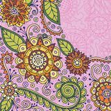 Hand drawn pattern with abstract doodle flowers and leaves.Zentangle inspired floral pattern. Hand drawn pattern with abstract doodle flowers and leaves Stock Photo