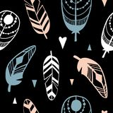 Hand drawn pattern with abstract feathers stock illustration