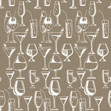 Hand drawn pattern of alcohol drinks and cocktails. Vector illustration Stock Photography