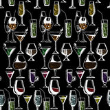 Hand drawn pattern of alcohol drinks and cocktails. Vector illustration. Hand drawn pattern of alcohol drinks and cocktails. Vector Stock Photography