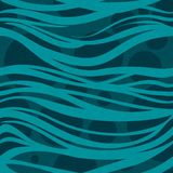 Hand-drawn pattern, background and seamless texture. Abstract blue sea waves. Royalty Free Stock Photos