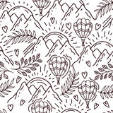 Hand drawn pattern with a balloon and mountains Royalty Free Stock Photography