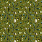 Hand-drawn pattern with berries and leaves on olive background stock illustration