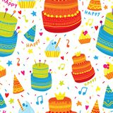 Hand drawn pattern with Birthday elements. Celebration cakes and festive caps. Colorful seamless background.  Royalty Free Stock Photography