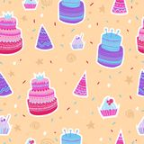 Hand drawn pattern with Birthday elements. Celebration cakes and festive caps. Colorful seamless background.  Royalty Free Stock Photo