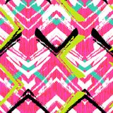 Hand drawn pattern with brushed zigzag line. Royalty Free Stock Photography