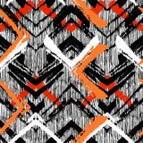 Hand drawn pattern with brushed zigzag line. Stock Photography
