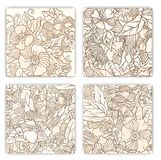 Hand drawn pattern cards with flowers and leaves. Stock Image