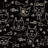 Hand drawn pattern with cats Royalty Free Stock Images