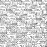 Hand Drawn Pattern With City Background. Stock Photo