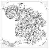 Hand drawn pattern for coloring book zodiac Aquarius. Royalty Free Stock Images