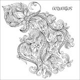 Hand drawn pattern for coloring book zodiac Aquarius. Stock Photos