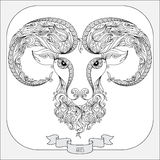 Hand drawn pattern for coloring book zodiac Aries. Stock Photos