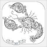 Hand drawn pattern for coloring book zodiac Cancer. Royalty Free Stock Images