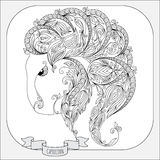 Hand drawn pattern for coloring book zodiac  Capricornus Stock Photography