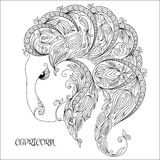 Hand drawn pattern for coloring book zodiac  Capricornus Stock Photography