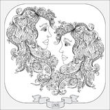 Hand drawn pattern for coloring book zodiac Gemini Royalty Free Stock Image
