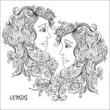 Hand drawn pattern for coloring book zodiac Gemini Stock Images