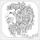 Hand drawn pattern for coloring book zodiac Leo. Stock Images